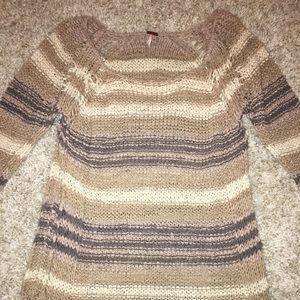 Free People Open Weave Striped Sweater Neutral Med